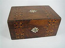 A VICTORIAN WALNUT AND TONBRIDGEWARE CASKET; Mother of Pearl inlaid, paper-lined interior. Width 25cm.