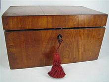 A 19th CENTURY SATINWOOD TEA CADDY, plain rectangular, with bone diamond-lozenge escutcheon; lock by Jackson, Launceston. Width 32cm.