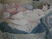 DUNCAN GRANT (1885-1987) 'RECLINING NUDE'. Watercolour. Signed lower right. 38 x 57cm.