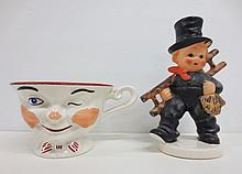 Goebel figurine Chimney Sweep with ladder,  marked W. Germany KF40 and Ridgway Stirling Pottery
