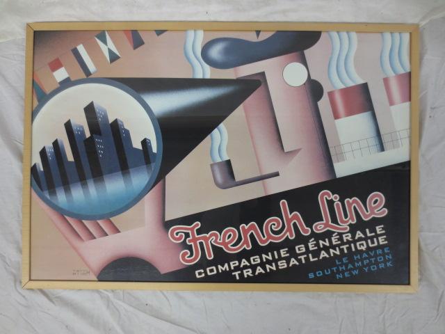 Terry Allen, French Line/ Transatlantique framed poster