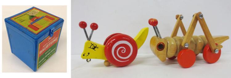 Vintage German blocks and Two wood pull toys after Jouet Bois, vilac, Walt Disney Prod.
