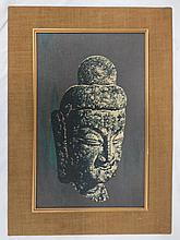 Chinese framed silkscreen on fabric, Buddha's Head