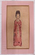 Chinese framed silkscreen on fabric, young woman in pink
