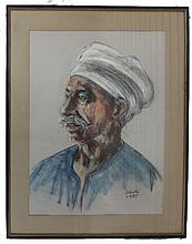 Pastel on paper depicting elderly man in turban, signed, framed under glass