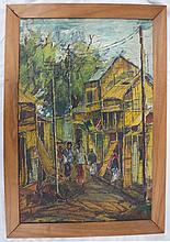 Kazi Anowar Hossain - Abstract Street Scene, 1966