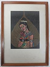Vintage Portrait of Woman on Peepal Leaf, framed