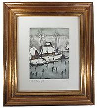 Hebbelinck, Roger (Belgian, 1912-) , Hand painted engraving of winter scene d'apres Breughel (#705), pencil signed lower right