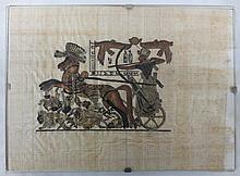 Egyptian Warrior on Horse Drawn Chariot Painting on papyrus
