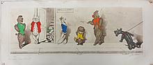 Hand colored Engraving of anthropomorphic Dogs waiting for a Cat, signed illegibly