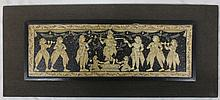 Painted on thick paper, mounted rectangular plaque depicting ceremony