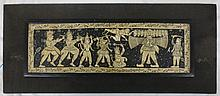 Painted on thick paper, mounted rectangular plaque depicting Vishnu