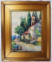 S.C Davis - Watercolor of Village Church,