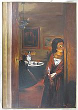 Reverse framed oil painting on canvas depicting young girl waiting by the door. Signed