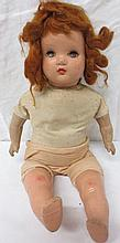 Horsman ginger haired composition and cloth doll with crier