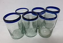 Six (6) cobalt rimmed hand blown glass tumblers