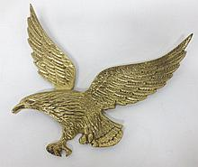 Large brass bald eagle wall plaque