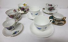 collection of dainty teacups and saucers incl,  Blue Chelsea