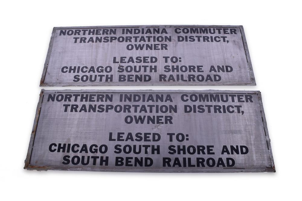 Chicago, South Shore, & South Bend Railroad / NICTD Nippon Sharyo Commuter Car #4 Pair of Stainless Steel Lessor Plates