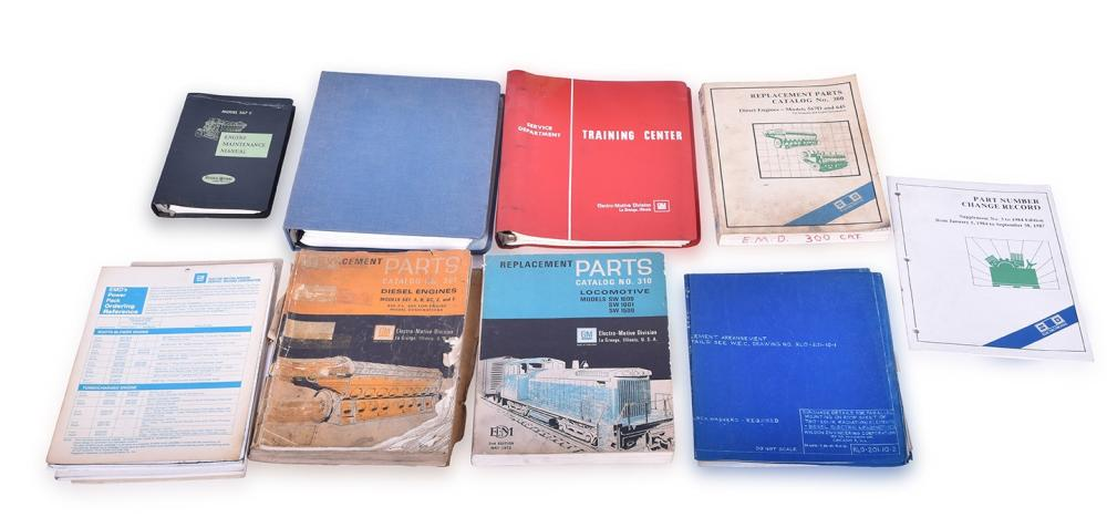 This group of EMD / Electro-Motive / General Motors Maintenance and Parts Books, Plus Westinghouse Diagrams, and Blue Prints