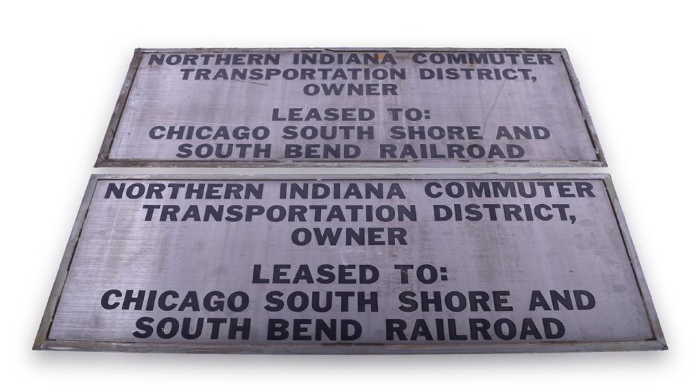 Chicago, South Shore, & South Bend Railroad / NICTD Nippon Sharyo Commuter Car #11 Pair of Stainless Steel Lessor Plates