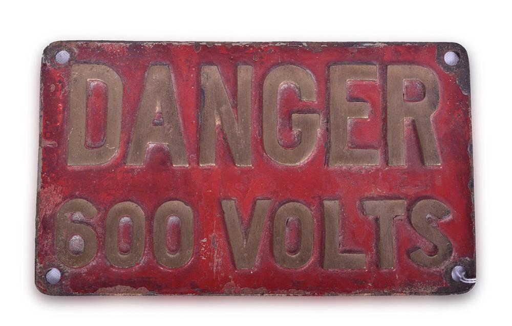 Cast Brass Danger 600 Volts Sign