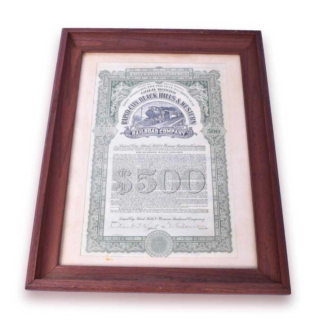 Framed Rapid City, Black Hills & Western Railroad Company $500 Gold Bond From 1909