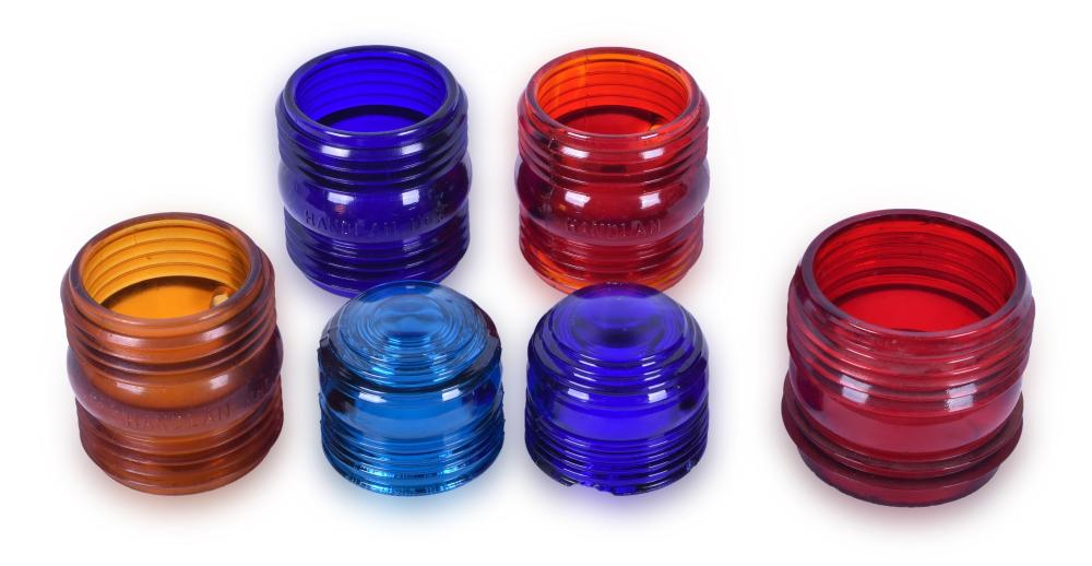 Six Handlan and Kopp Colored Globes / Lenses