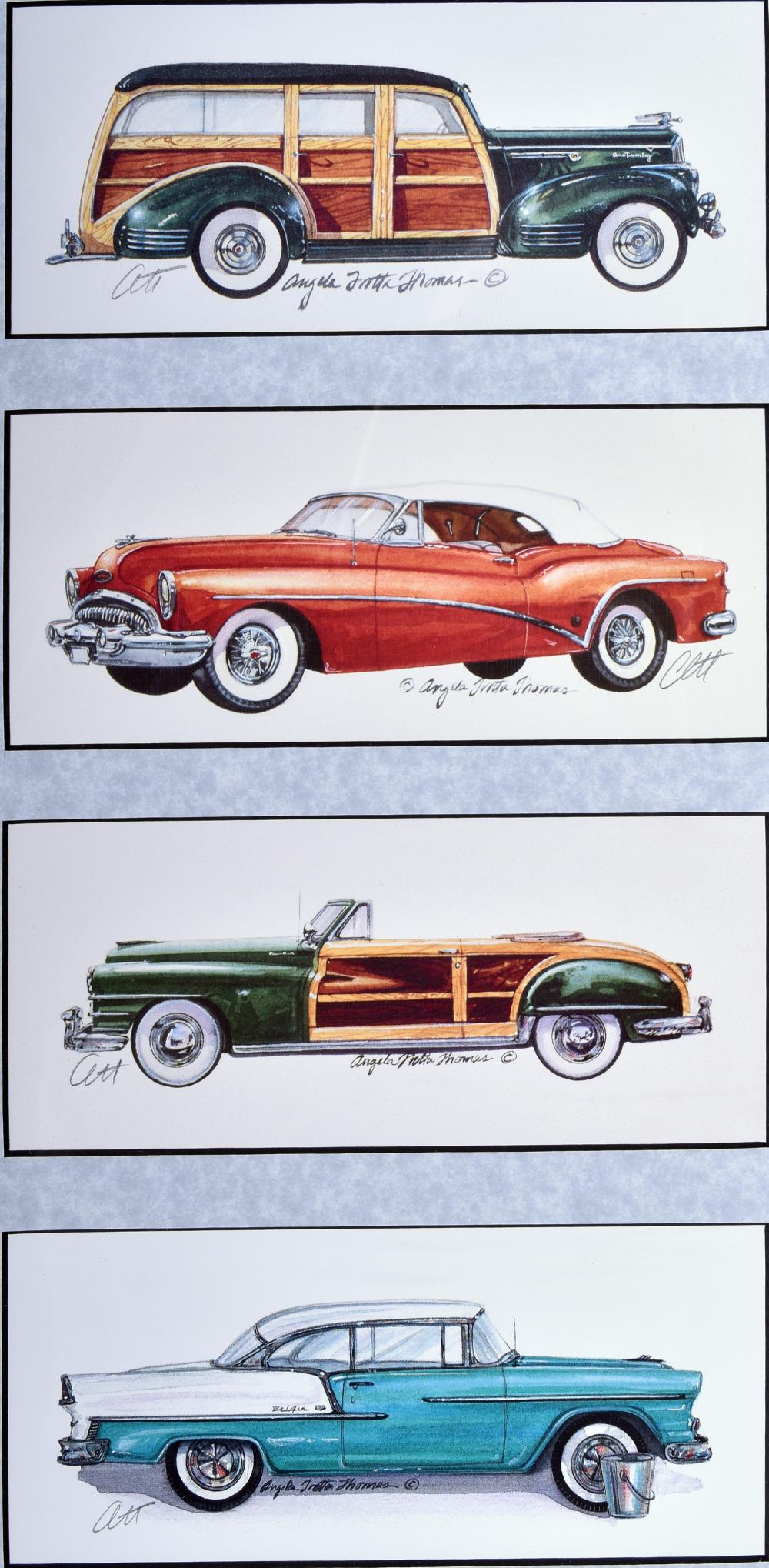 """Angela Trotta Thomas, Four Classic Automobiles - 1941 Packard One Twenty, 1953 Buick Special, 1955 Chevrolet Belair, and 1948 Chrysler Town and Country, Framed print, 20"""" x 12"""""""