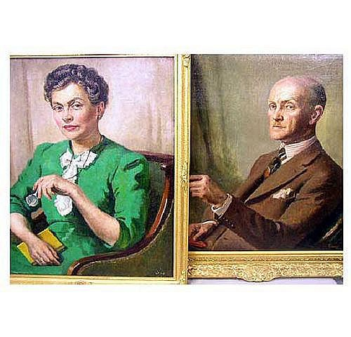 J T Y Gilroy, oil on canvas, a pair, portraits of
