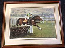 Claire Verity, signed & numbered coloured print of hurdler Istabraq, dated 1999, mounted and framed. (38in x 30.5in)