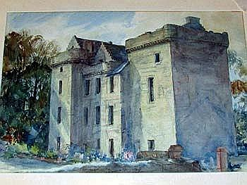George Bain, watercolour, Hunting Tower, study of
