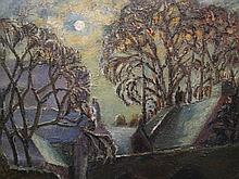 Evelyne Oughtred Buchanan (1883-1978), Bridge in Village by Moonlight, oil on canvas, in gilt frame, with portrait of female verso