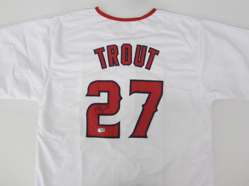 Mike Trout Anges Signed Autographed White Jersey Certified Coa