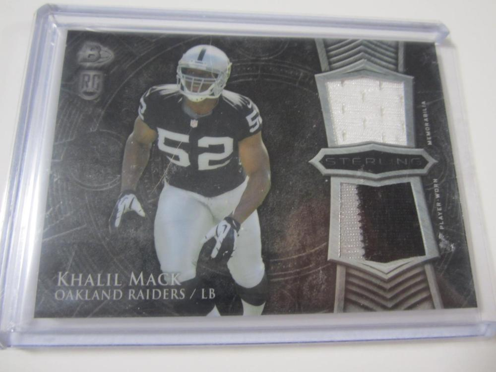 f0985c19827 2014 TOPPS FOOTBALL KHALIL MACK DUAL PIECE OF GAME USED RAIDERS JERSEY CARD