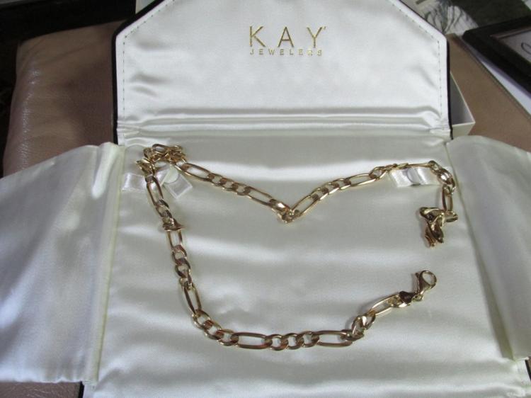 Figaro Link 10k gold necklace 22 inch length