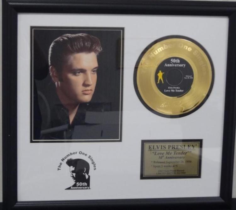 Beautiful Framed Elvis Presley Gold record