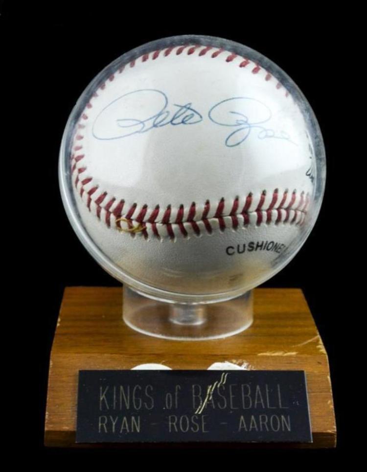 Hank Aaron,Nolan Ryan,Pete Rose signed baseball