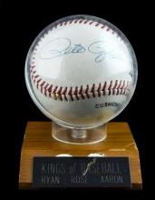 Hank Aaron,Nolan Ryan,Pete Rose signed baseball