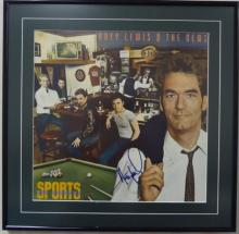 Huey Lewis signed sports album cover 16x16