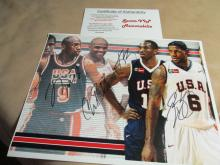 Michael Jordon,Charles Barkey,Kobe Bryant,Lebron James signed Litho/photo