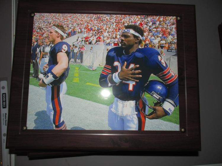 Very nice wall plaque of Walter Payton at SuperBowl