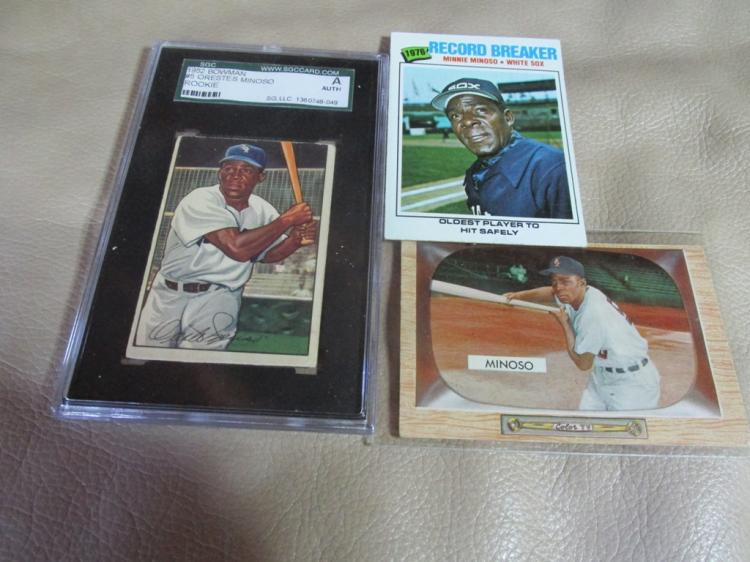1952 Minnie Minoso, rookie card, 1955 Bowman card, 1976 card