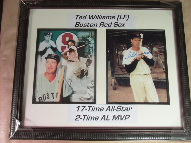 Large Ted Williams autographed display