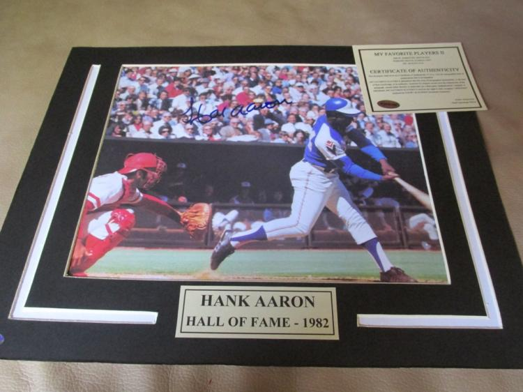 Hank Aaron Autographed Matted Photo