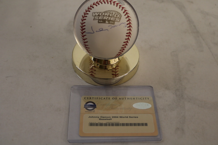 Johnny Damon Caveman Autographed Baseball