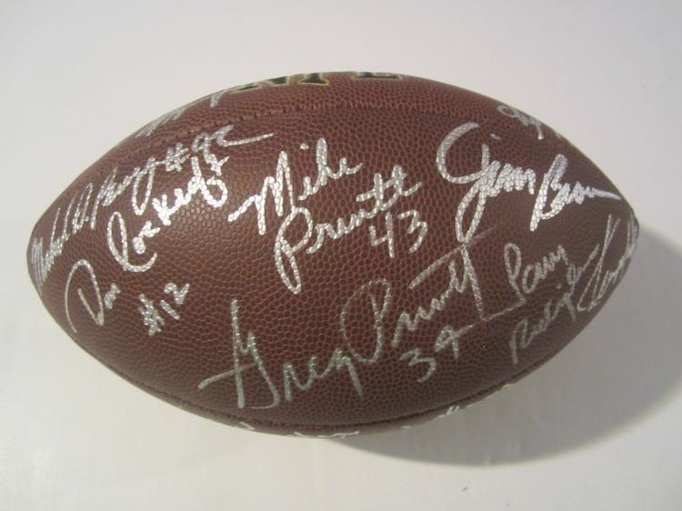 Cleveland Browns Superstar full size Autographed football Jim Brown Bernie Kosar & others COA