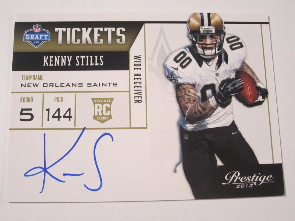 2013 PANINI FOOTBALL KENNY STILLS SIGNED AUTOGRAPHED SAINTS CARD