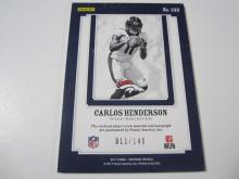 Lot 11: 2017 PANINI FOOTBALL CARLOS HENDERSON PIECE OF GAME USED SIGNED BRONCOS JERSEY CARD