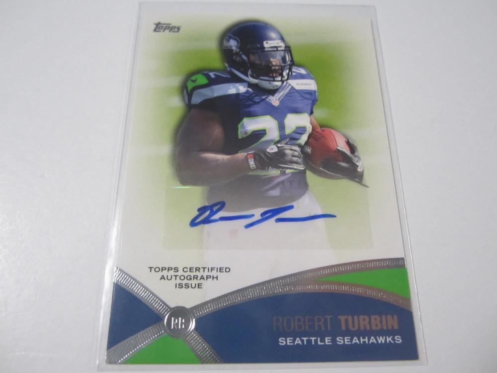 Lot 10: 2013 TOPPS FOOTBALL ROBERT TURBIN SIGNED AUTOGRAPHED SEAHAWKS CARD